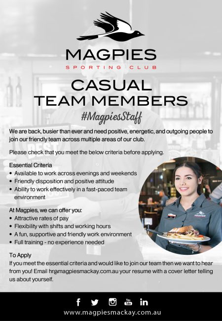 Positions Vacant - Casual Team Members - July 20202